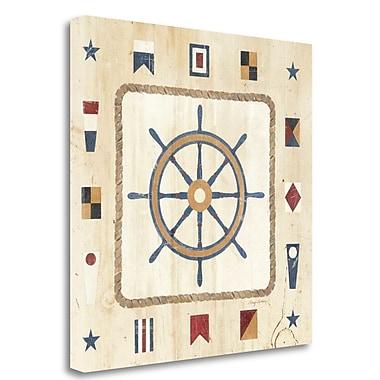 Tangletown Fine Art 'Nautical Wheel' Graphic Art Print on Wrapped Canvas; 20'' H x 20'' W