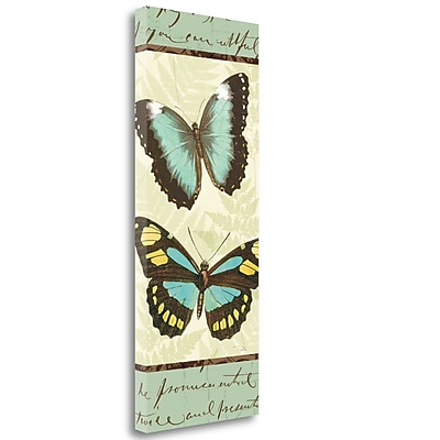 Tangletown Fine Art 'Butterfly Patchwork II' Graphic Art Print on Wrapped Canvas; 40'' H x 16'' W
