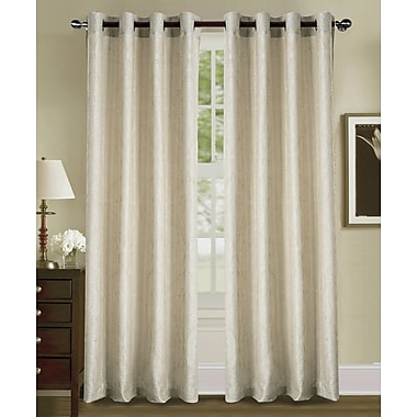 Charlton Home Sande Jacquard in Solid Grommet Single Curtain Panel; Beige
