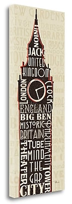 Tangletown Fine Art 'London City Words II' Textual Art on Wrapped Canvas; 32'' H x 13'' W
