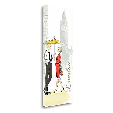 Tangletown Fine Art 'London Lovers' Graphic Art Print on Wrapped Canvas; 32'' H x 13'' W