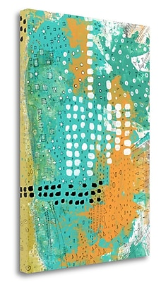 Tangletown Fine Art 'Orange And Green Abstract' Graphic Art Print on Canvas; 34'' H x 24'' W