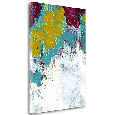 Tangletown Fine Art 'Purple and Gold Floral Abstract' Print on Wrapped Canvas; 34'' H x 25'' W