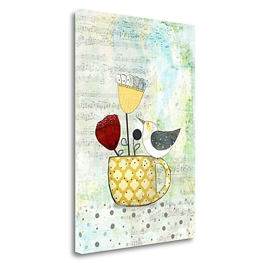 Tangletown Fine Art 'Bird on a Yellow Cup' Graphic Art Print on Wrapped Canvas; 39'' H x 28'' W