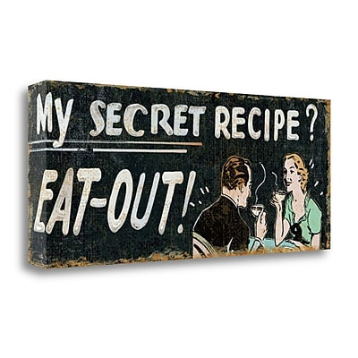 Tangletown Fine Art 'My Secret Recipe' Textual Art on Wrapped Canvas; 16'' H x 40'' W