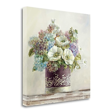 Tangletown Fine Art 'Anemones in Aubergine Hatbox' Print on Wrapped Canvas; 24'' H x 24'' W