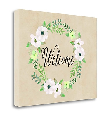 Tangletown Fine Art 'Welcome Green Wreath' Textual Art on Wrapped Canvas; 24'' H x 30'' W