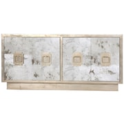 WorldsAway 4 Door Console Table; Champagne Silver