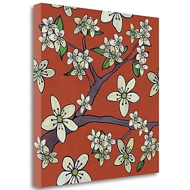 Tangletown Fine Art 'Cherry Blossom on Orange' Graphic Art Print on Wrapped Canvas; 35'' H x 35'' W