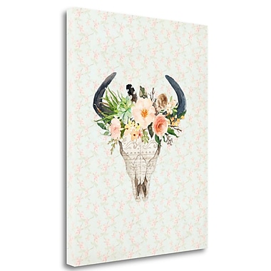 Tangletown Fine Art 'Bull Skull on Floral' Graphic Art Print on Wrapped Canvas; 37'' H x 29'' W
