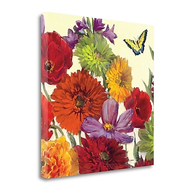 Tangletown Fine Art 'Butterfly Flower Scatter Crop II' Print on Wrapped Canvas; 20'' H x 20'' W