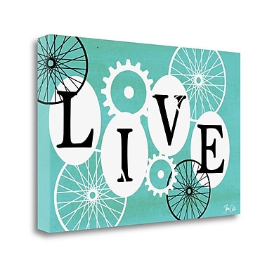 Tangletown Fine Art 'Live Teal' Graphic Art Print on Wrapped Canvas; 15'' H x 23'' W