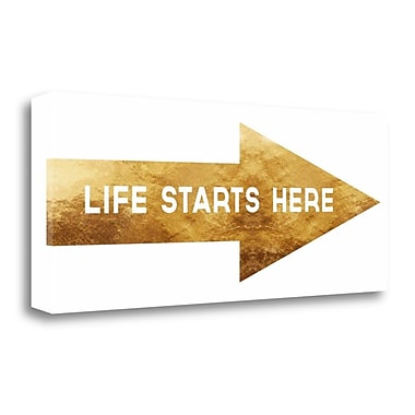 Tangletown Fine Art 'Life Starts Here' Textual Art on Canvas; 16'' H x 40'' W