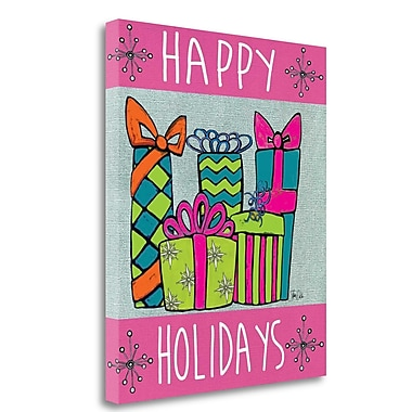 Tangletown Fine Art 'Happy Holidays' Graphic Art Print on Wrapped Canvas; 20'' H x 16'' W