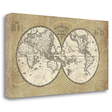 Tangletown Fine Art 'French World Map' Graphic Art Print on Canvas; 27'' H x 48'' W