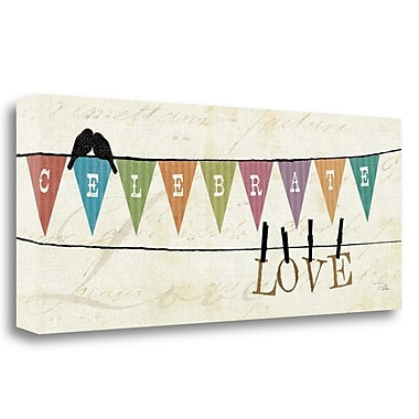 Tangletown Fine Art 'Happy Words I' Graphic Art Print on Wrapped Canvas; 13'' H x 32'' W