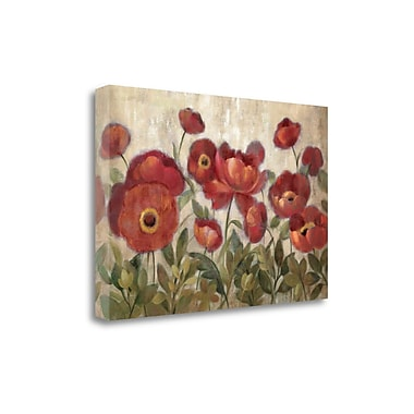 Tangletown Fine Art 'Daydreaming Flowers Red' Print on Wrapped Canvas; 32'' H x 48'' W