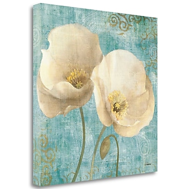 Tangletown Fine Art 'Poppies on Paisley' Graphic Art Print on Canvas; 35'' H x 35'' W