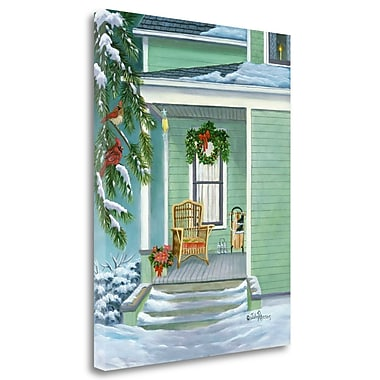 Tangletown Fine Art 'Cardinals and Christmas Porch' Print on Wrapped Canvas; 24'' H x 20'' W