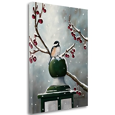 Tangletown Fine Art 'Chickadee in the Snow' Print on Wrapped Canvas; 37'' H x 28'' W