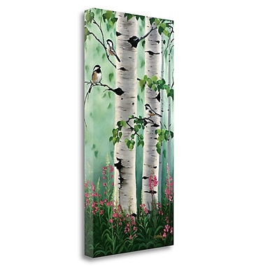 Tangletown Fine Art 'Chickadees in the Birch Trees' Print on Wrapped Canvas; 29'' H x 15'' W