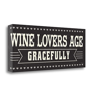 Tangletown Fine Art 'Wine Lovers IV' Textual Art on Canvas; 13'' H x 32'' W