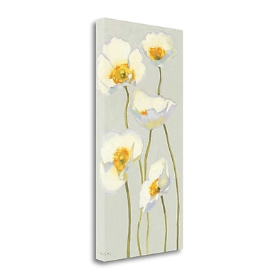 Tangletown Fine Art 'White on White Poppies Panel II' Print on Wrapped Canvas; 48'' H x 24'' W