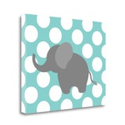 Tangletown Fine Art 'Elephant Polka Dots' Graphic Art Print on Wrapped Canvas; 22'' H x 28'' W
