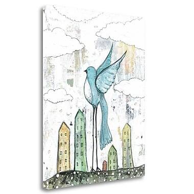 Tangletown Fine Art 'Blue Bird' Graphic Art Print on Wrapped Canvas; 31'' H x 25'' W