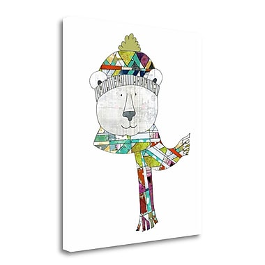 Tangletown Fine Art 'Bear in a Hat and Scarf' Graphic Art Print on Wrapped Canvas; 20'' H x 18'' W