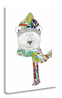 Tangletown Fine Art 'Bear in a Hat and Scarf' Graphic Art Print on Wrapped Canvas; 28'' H x 25'' W