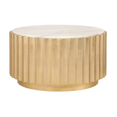 WorldsAway Scalloped Coffee Table; Gold Leaf