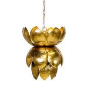 WorldsAway Metal 1-Light Mini Pendant w/ Leaves; Gold