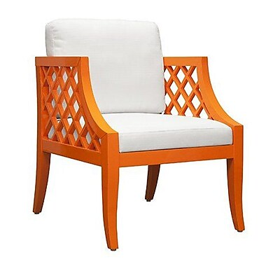 WorldsAway Lattice Side Chair; Orange Lacquer