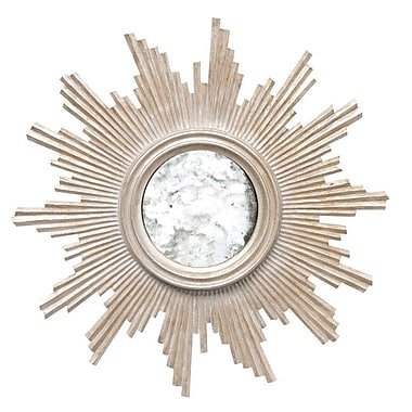 WorldsAway Hand-carved Accent Mirror; Champagne Silver Leaf