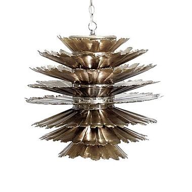 WorldsAway Iron Pierced 1-Light Geometric Pendant; Champagne Silver