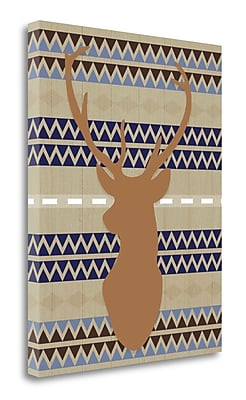 Tangletown Fine Art 'Orange Blue Tribal Deer' Graphic Art Print on Wrapped Canvas; 28'' H x 22'' W