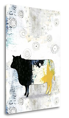 Tangletown Fine Art 'Cow' Graphic Art Print on Wrapped Canvas; 39'' H x 28'' W