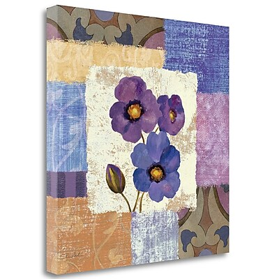 Tangletown Fine Art 'Tiled Poppies II Purple' Print on Wrapped Canvas; 24'' H x 24'' W