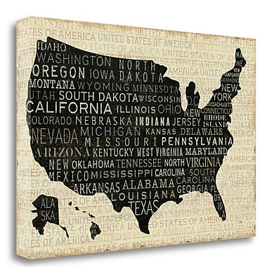 Tangletown Fine Art 'USA V' Textual Art on Wrapped Canvas; 26'' H x 39'' W