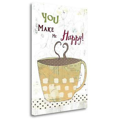 Tangletown Fine Art Happy Coffee' Graphic Art Print on Canvas; 34'' H x 24'' W