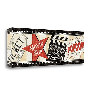 Tangletown Fine Art 'Movie Night' Vintage Advertisement on Canvas; 13'' H x 39'' W