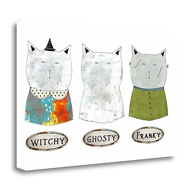 Tangletown Fine Art '3 Halloween Cats' Graphic Art Print on Wrapped Canvas; 24'' H x 39'' W