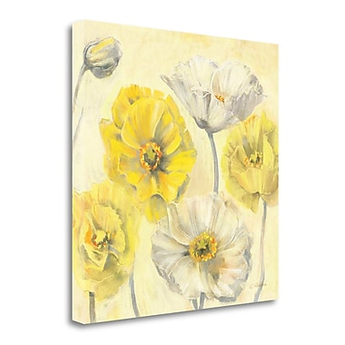 Tangletown Fine Art 'Gold and White Contemporary Poppies II' Print on Canvas; 18'' H x 18'' W