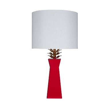 WorldsAway 33'' Table Lamp; Red Lacquer