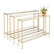 WorldsAway Console Table; Gold Leaf