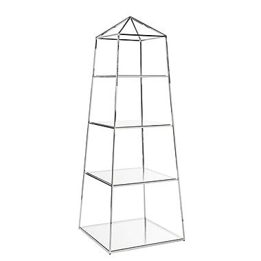 WorldsAway Obelisk 75'' Etagere Bookcase; Nickel