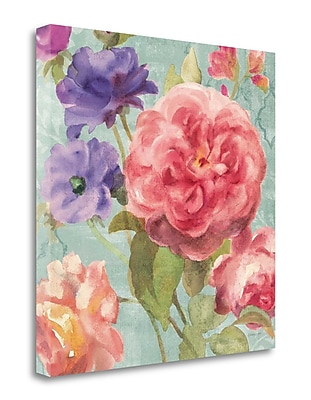 Tangletown Fine Art 'Watercolor Floral II on Gray' Print on Wrapped Canvas; 24'' H x 24'' W