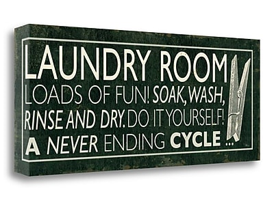 Tangletown Fine Art 'Laundry Room I' Textual Art on Canvas; 16'' H x 40'' W