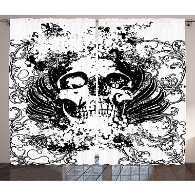 East Urban Home Scary Skull Graphic Print & Text Room Darkening Rod Pocket Curtain Panels (Set of 2)